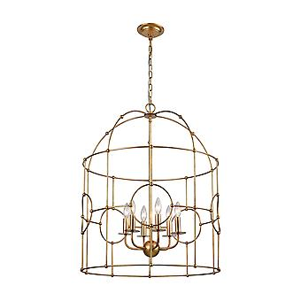 Hollow bamboo 6-light chandelier