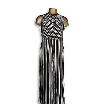 Du Jour Petite Jumpsuits Stripe impreso de pierna ancha cultivo negro A352934