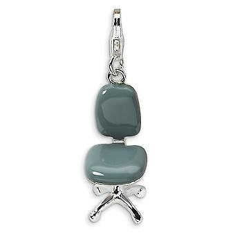 925 Sterling Silver Solid Polished Rhodium plated Fancy Lobster Closure 3 D Enameled Office Chair With Lobster Clasp Cha