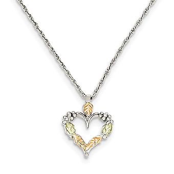 925 Sterling Silver Spring Ring Polished and satin and 12k Love Heart Necklace 18 Inch Jewelry Gifts for Women