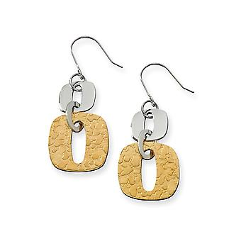 Stainless Steel Dangle Brushed Textured Polished Shepherd hook Yellow IP-plated Gold IP-plated Square Link Earrings