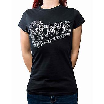 David Bowie T Shirt Flash diamante Logo nouveau officiel du Womens de Skinny Fit noir