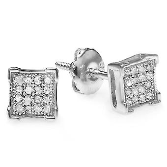 Dazzlingrock Collection 0.05 Carat (ctw) Round Diamond V Prong Square Shape Men-apos;s Hip Hop Iced Stud Boucles d'oreilles, Sterling Silver