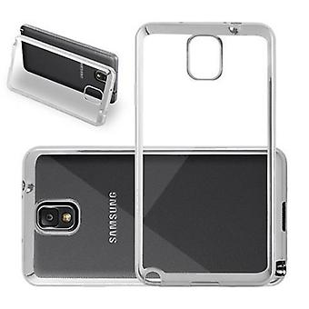 Cadorabo Case for Samsung Galaxy NOTE 3 - Case in TRANSPARENT with CHROM SILVER - TPU Silicone Phone Case in Chrome Design - Silicone Case Protective Case Ultra Slim Soft Back Cover Case Bumper