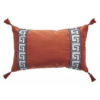 Elegant Tangerine Greek Key Lumbar Accent Pillow