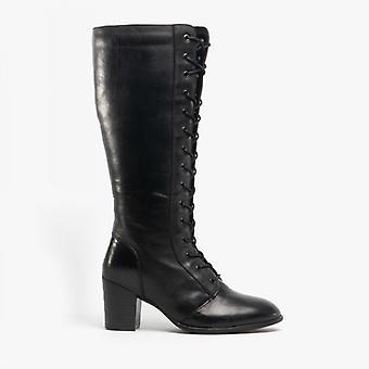 لوتس مينا السيدات الجلود طويل القامة أحذية الأسود