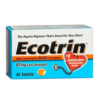Ecotrin safety coated aspirin, 81 mg, low strength, tablets, 45 ea