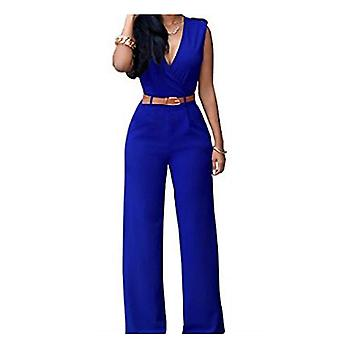 Vincenza womens chic overlay belted sleeveless wide jumpsuit playsuit