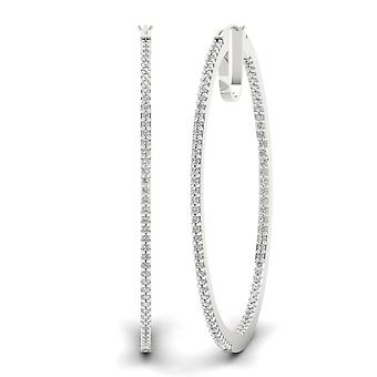 Igi gecertificeerd s925 sterling zilver 0.50ct natuurlijke diamanten hoepel oorbellen
