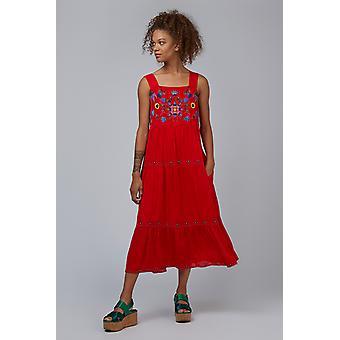 Louche Paz bordado tierlado Midi vestido Coral