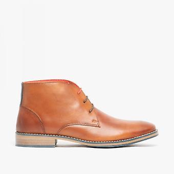 Front Logan Mens Leather Chukka Boots Tan
