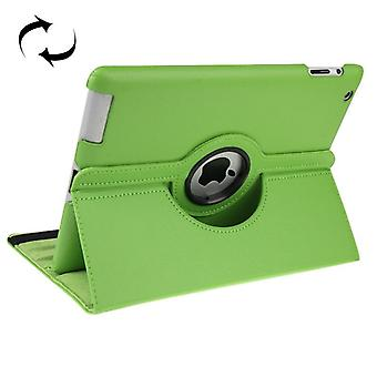 For iPad 2/3/4 Case,Smart Function Rotatable Shielding Leather Cover,Green