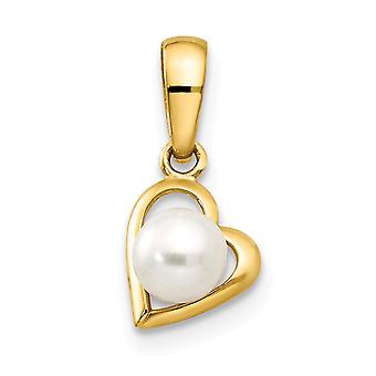 14k Yellow Gold Freshwater Cultured Pearl for boys or girls Love Heart Pendant Necklace