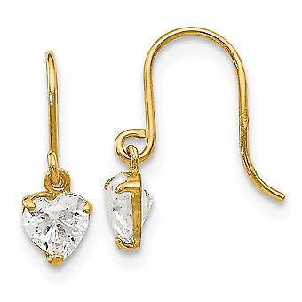 14k Ouro Amarelo Madi K Zirconia Cúbica para meninos ou meninas Brincos de Dangle coração