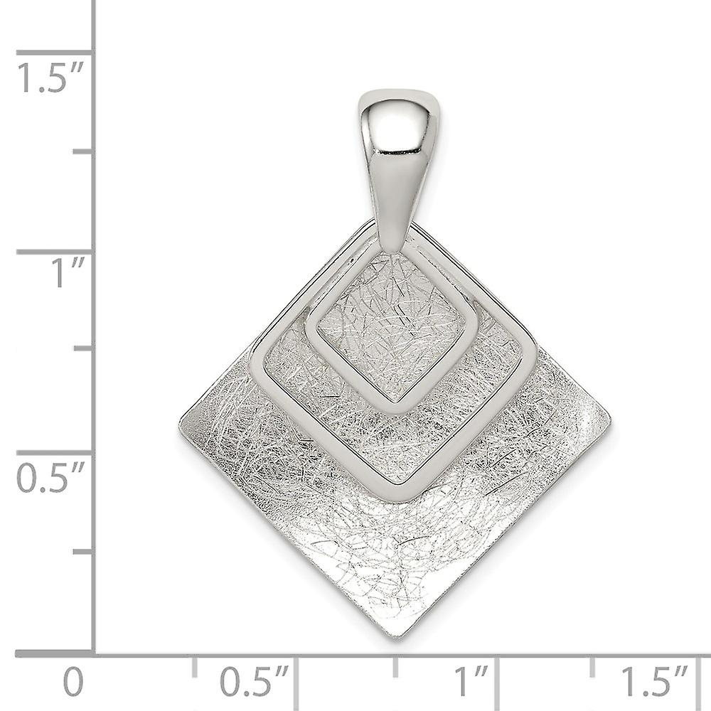 925 Sterling Silver Polished and Textured Square Pendant Necklace Jewelry Gifts for Women