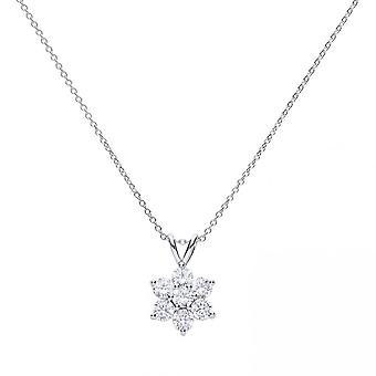 Diamonfire Silver & White Zirconia Claw Set Flower Cluster Necklace
