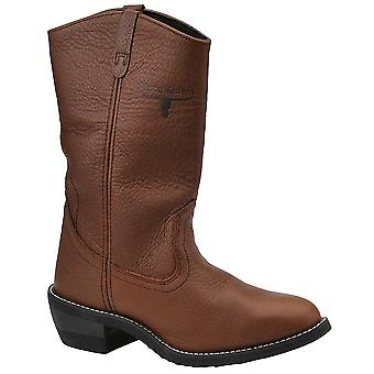 Western Work Mens Leather Almond Toe Mid-Calf Safety Boots