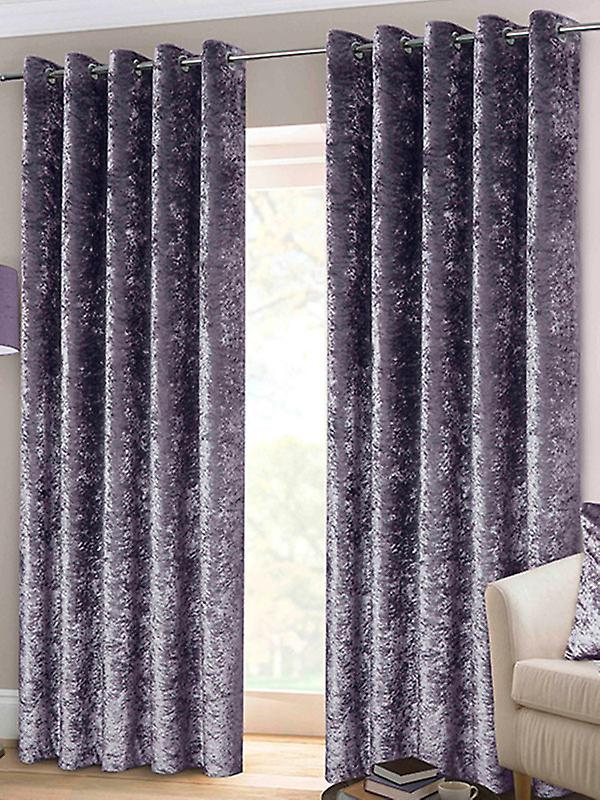 Belle Maison Lined Eyelet Curtains, Crushed Velvet Range, 46x54