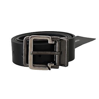Dolce & Gabbana Black 100% Leather Silver Buckle Belt