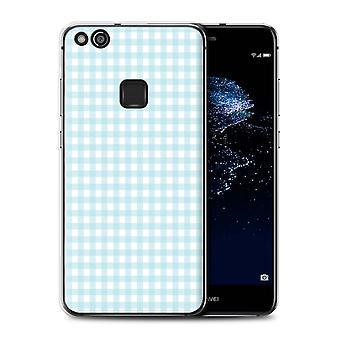 STUFF4 Gel TPU Fall/Cover für Huawei P10 Lite/Baby blau Gingham/WinterMode