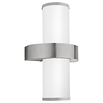 Eglo Beverly - 2 Light Outdoor Wall Light Stainless Steel, Silver IP44 - EG86541