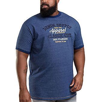 Duke D555 Mens Kody Big Tall King Size Striped Crew Neck T-Shirt Top Tee - Navy