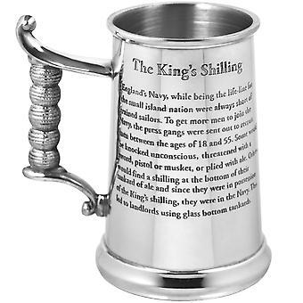 King's Shilling Heavy Gauge Pewter Tankard - 1 Pint +