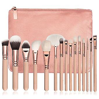 Make-up borstel set, 15 borstels en etui-beige