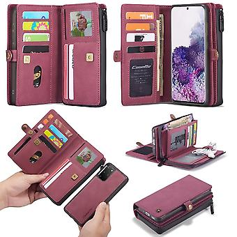 CASEME Samsung Galaxy S20 Plus Retro läder plånboksfodral - Röd