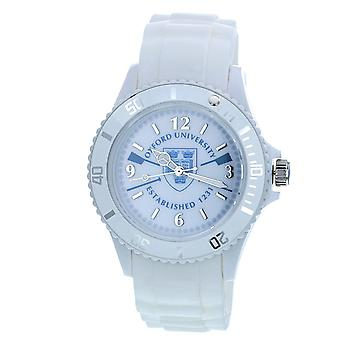 Licensed Oxford University EST 1231 Quartz Movement Rotating Bezel White Dial & White Silicone Strap Watch OU04B