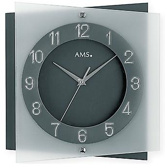 AMS 9323 Wall clock Quartz analog anthracite grey quiet without ticking with glass