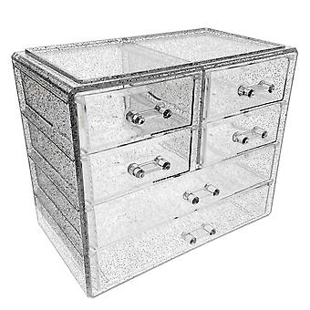 OnDisplay Cosmetic Makeup and Jewelry Storage Case Display - 6 Drawer Tiered Design - Perfect for Vanity, Bathroom Counter, or Dresser (Clear w/Silver Glitter)