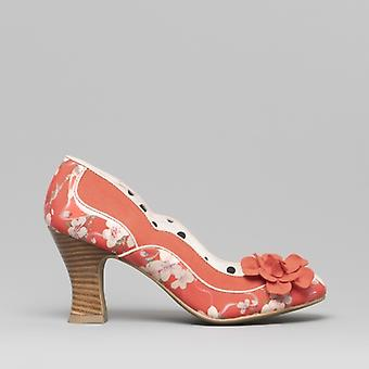 Ruby Shoo Viola Damen Block Ferse Schuhe Koralle