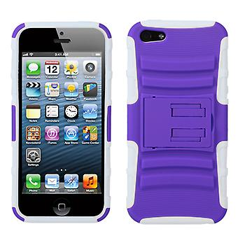 Asmyna Advanced Armor Stand Case for Apple iPhone 5/5S - Purple/Solid White