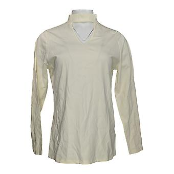 Du Jour Women'top long sleeve banded neck knit Ivory A300220