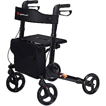 Folding Rollator Walker Aluminium Walking Mobility Aid Lightweight With 4 Wheels