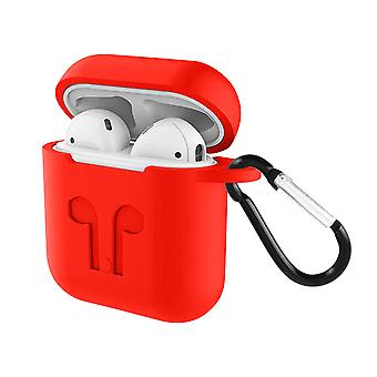 Soft Case AirPods 1 and 2 Anti-fingerprint Anti-Scratch with Carabiner- Red