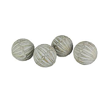 Weathered Whitewashed Hand Carved Wooden Decor Balls Set of 4