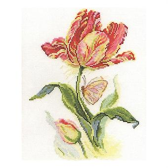 Alisa Cross Stitch Kit - Tulipas e Borboleta