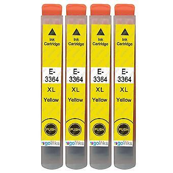 4 cartouches d'encre jaune pour remplacer Epson T3364 (série 33XL) Compatible/non-OEM de Go Inks
