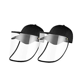 2X Outdoor Hat Anti Fog Dust Saliva Cap Face Shield Cover Adult Black