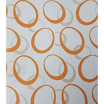 Retro Circles Geometric Wallpaper Orange White Taupe Paste The Wall Vinyl P+S