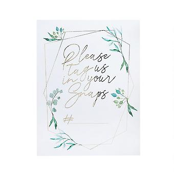 Geometric Gold with Greenery Instagram Signs x 2 Wedding Supplies 'Please tag us'