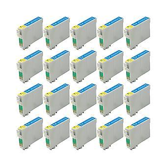 RudyTwos 20 x reemplazo de Fox de Epson de tinta cian de unidad Compatible con S22 SX125 SX130, SX230, SX235W, SX420W, SX425W, SX430W, SX435W, SX438W, SX440W, SX445W, SX445WE, oficina BX305F, BX305FW, BX305FW