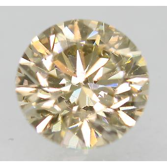 Cert 0.76 Carat Orangy Brown VVS2 Round Brilliant Natural Diamond 5.7mm EX CUT