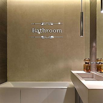 Acrylic DIY Bathroom Toilet Pattern Decorative Mirror Wall Sticker