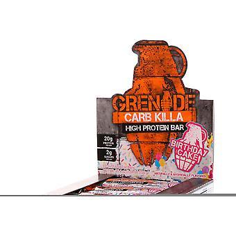 Kranaatti hiilihydraatti Killa Bar syntymäpäiväkakku 12 x 60 gr