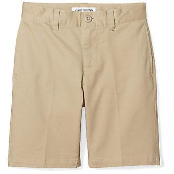 Essentials Big Boys' Flat Front Uniform Chino Short, Khaki,10