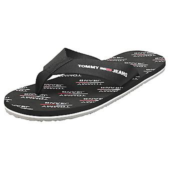 Tommy Jeans Print Beach Sandal Mens Beach Sandals in Black