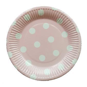 10PCS 7-inch Dot Party Paper Tray Pink White Circle